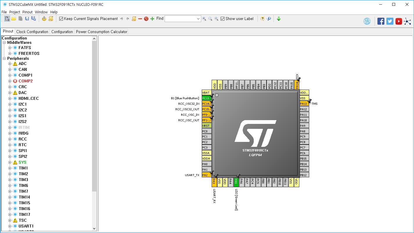 STM32F091 CUBEMX LD2